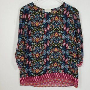 Everly Floral Ruched Blue Pull-Over Top Sz Small